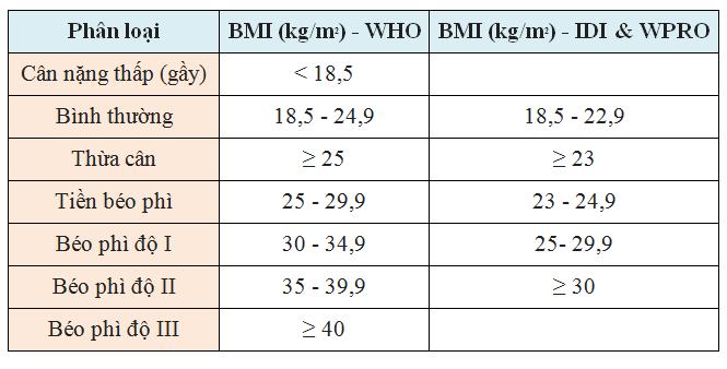 Phân loại mức độ gầy, béo dựa theo chỉ số BMI