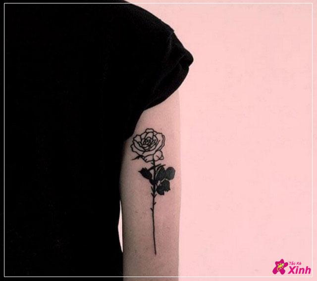 hình xăm hoa hồng đen nhỏ 001