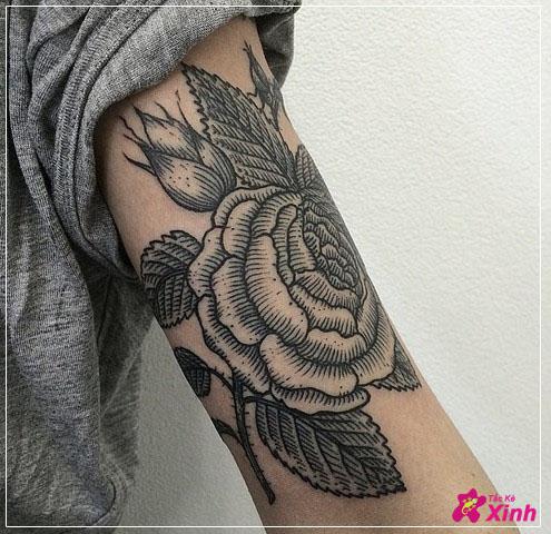 hình xăm hoa hồng ở bắp tay 01