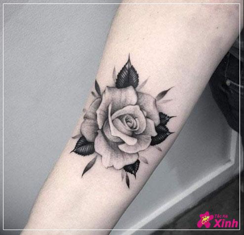 hình xăm hoa hồng ở cánh tay 002