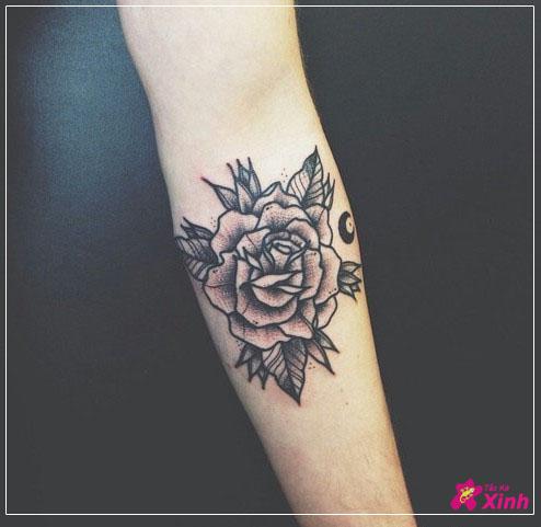 hình xăm hoa hồng đẹp ở cánh tay