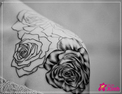 hình xăm hoa hồng ở vai 001