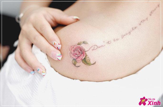 hình xăm hoa hồng ở vai cho nữ