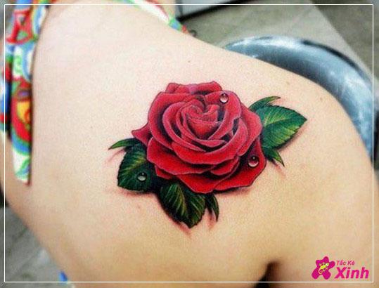 hình xăm hoa hồng ở vai đẹp nhất 008