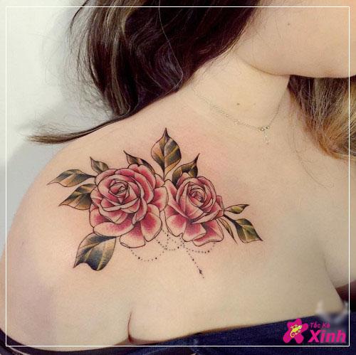 hình xăm hoa hồng ở vai đẹp nhất 009