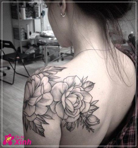 hình xăm hoa hồng ở vai đẹp nhất 011