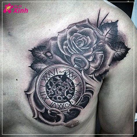 hình xăm hoa hồng và đồng hồ 01