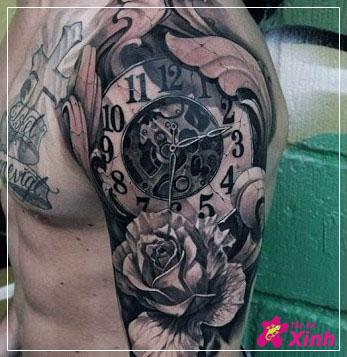 hình xăm hoa hồng và đồng hồ 02
