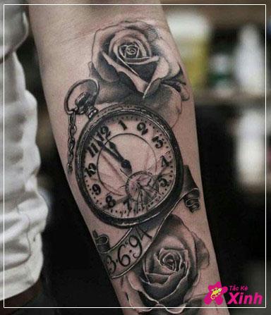 hình xăm đồng hồ hoa hồng cho nam