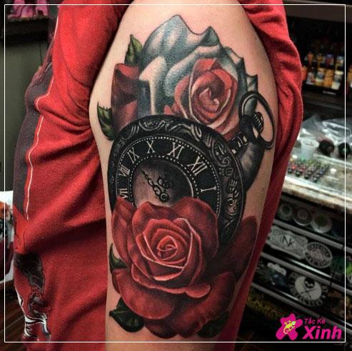 hình xăm hoa hồng đồng hồ kín tay đẹp nhất