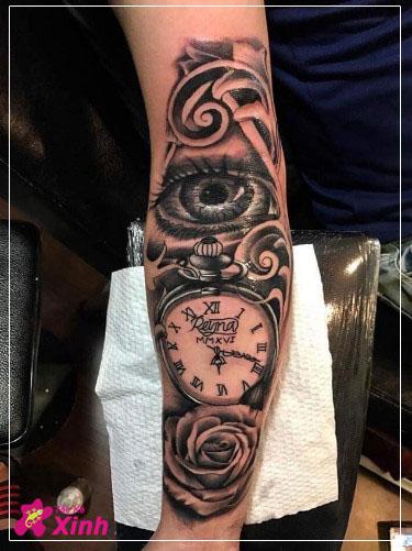 hình xăm hoa hồng và đồng hồ kín tay 002