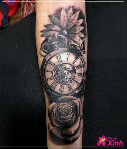 hình xăm hoa hồng và đồng hồ kín tay 004