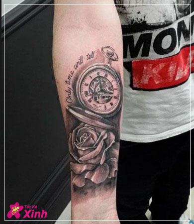 hình xăm hoa hồng và đồng hồ kín tay 006