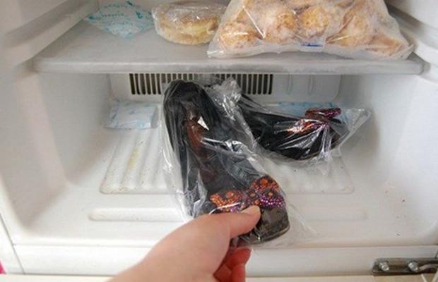 cách trị mùi hôi của giày bằng cách cho vào ngăn đá tủ lạnh