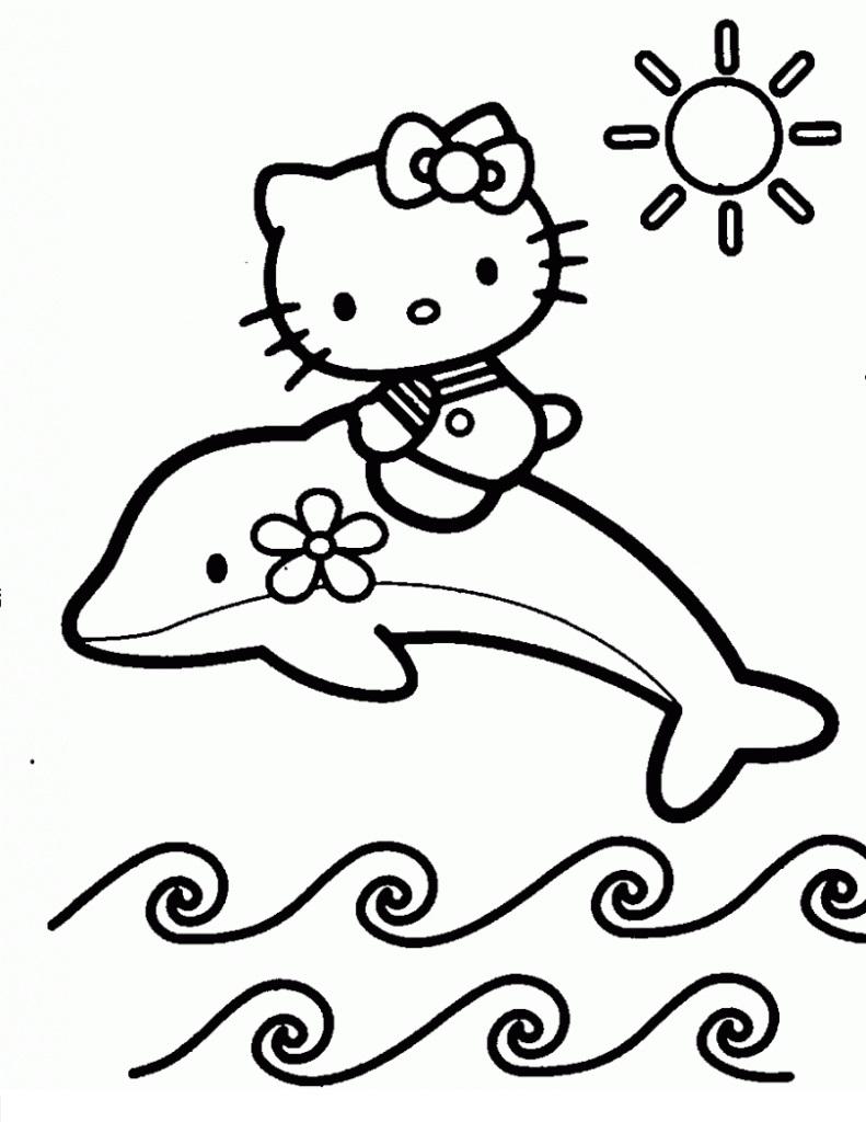 tranh tô màu cho bé 3 tuổi - tranh tô màu mèo hello Kitty