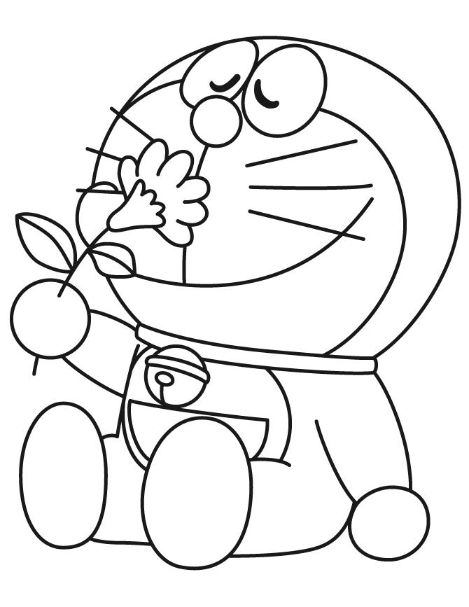 tranh tô màu cho bé 3 tuổi - tranh tô doremon dễ thương