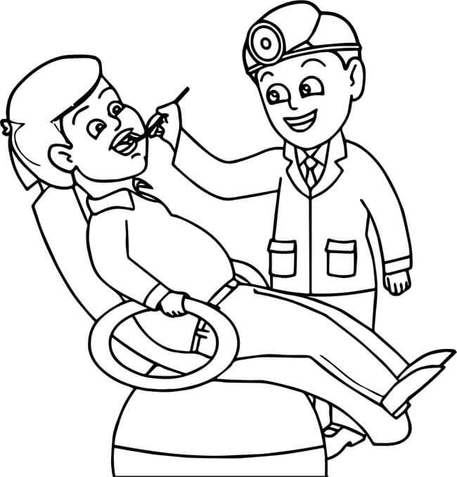 tranh tô màu cho bé 3 tuổi - tranh tô màu bác sĩ nha khoa