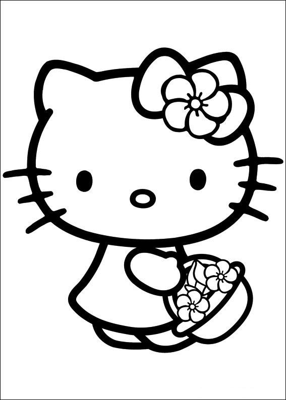 mẫu tranh tô màu hello kitty cho bé 003
