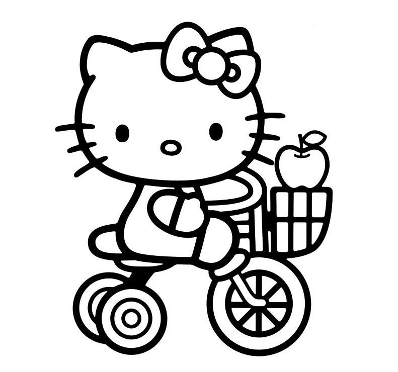 mẫu tranh tô màu hello kitty cho bé 008