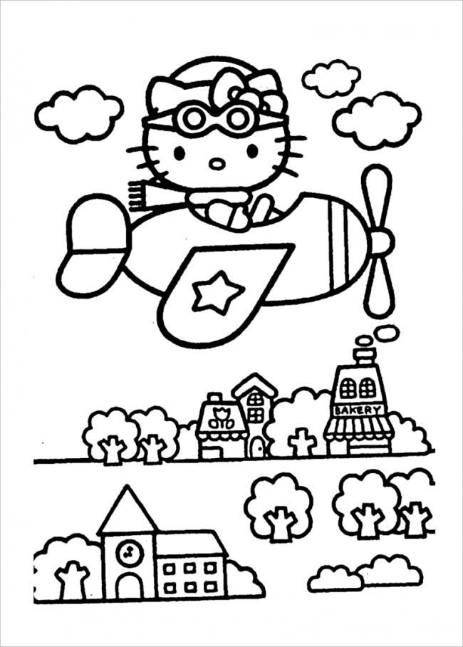 mẫu tranh tô màu hello kitty cho bé 012