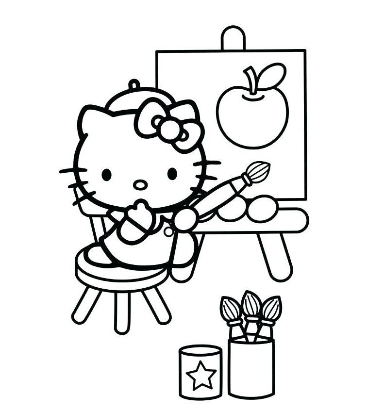 mẫu tranh tô màu hello kitty cho bé 016