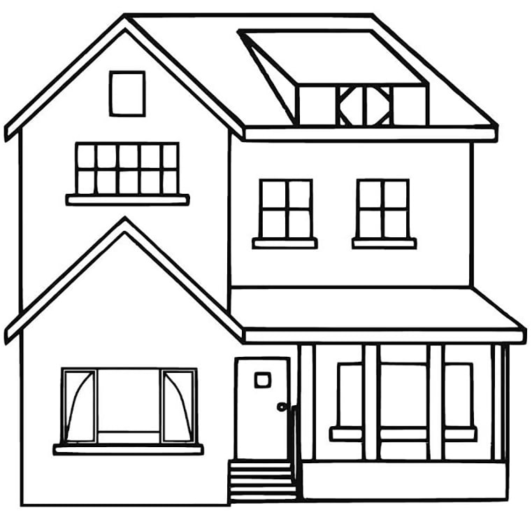 tranh tô màu ngôi nhà cho bé 01