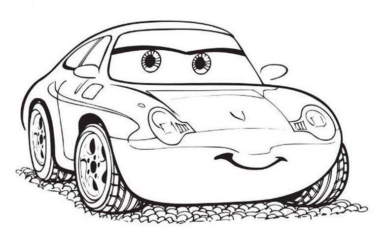 tranh tô màu ô tô dễ thương