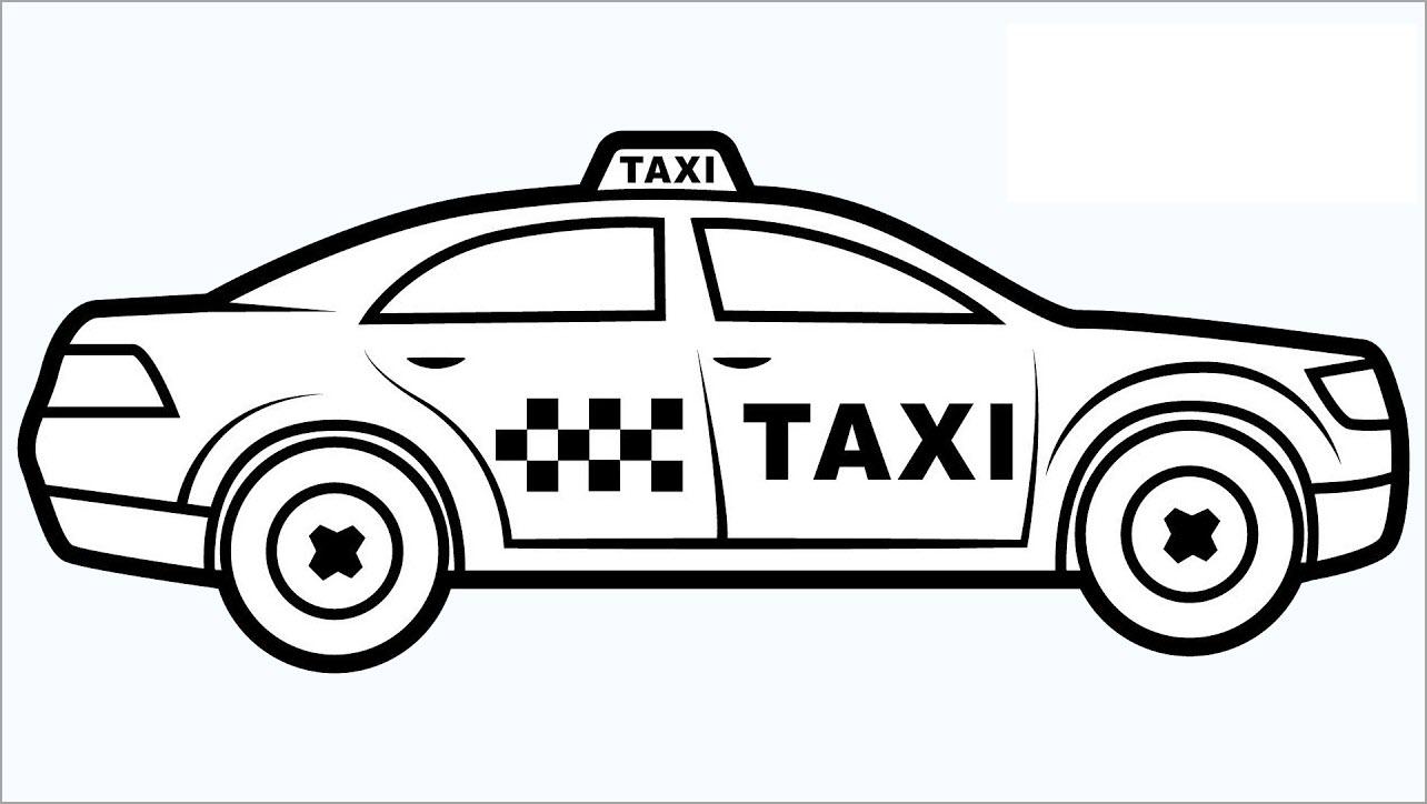 tranh tô màu xe taxi