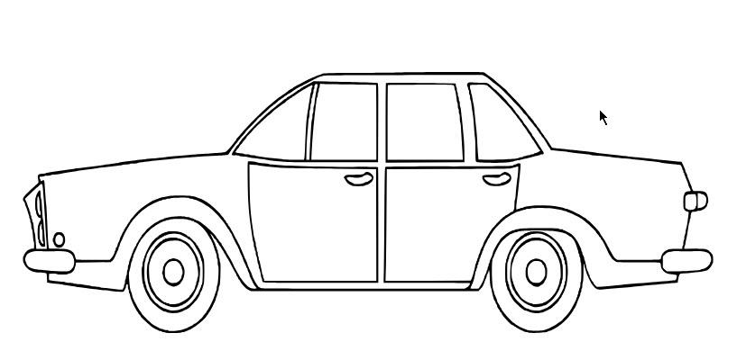 tranh tô màu ô tô con 01