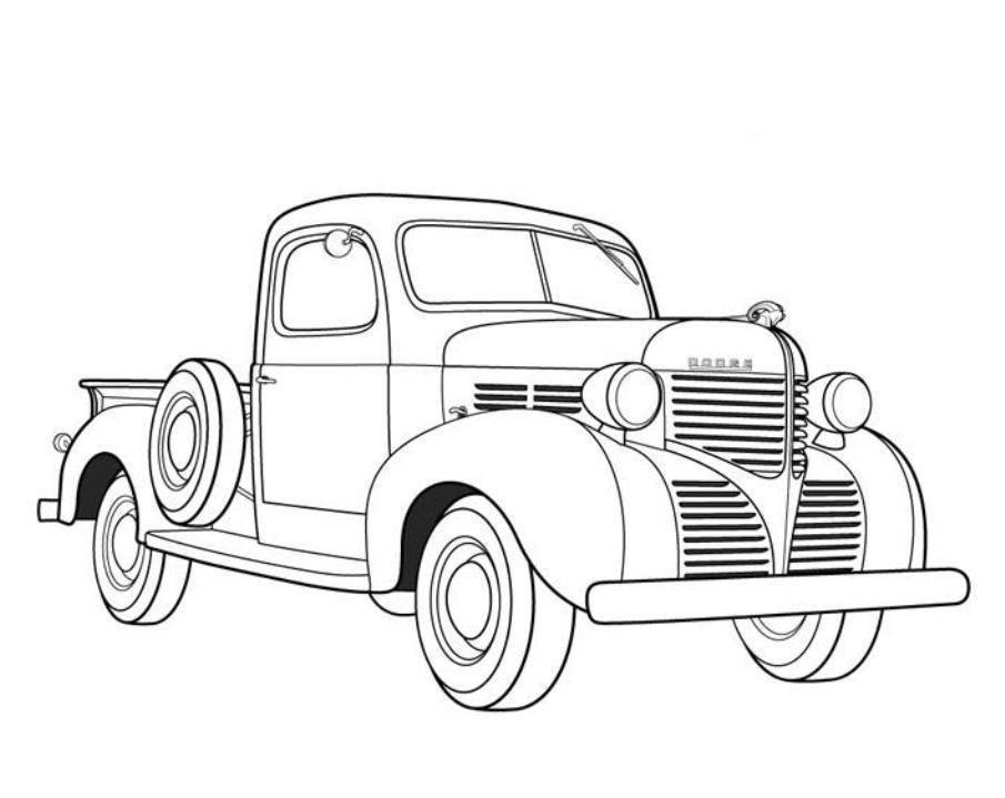 tranh tô màu ô tô bán tải