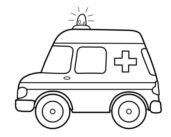 tranh tô màu xe cứu thương cho bé tập tô