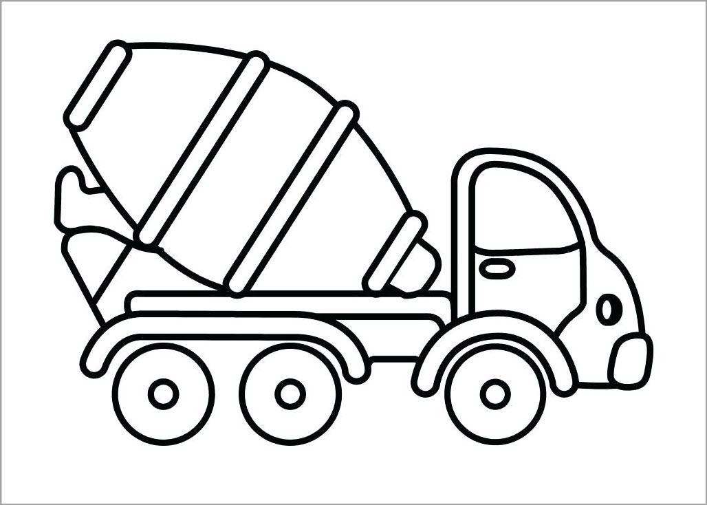 tranh tô màu xe trộn bê tông cho bé tập tô