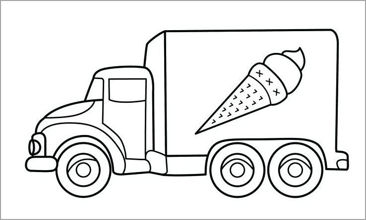 tranh tô màu ô tô tải trở kem
