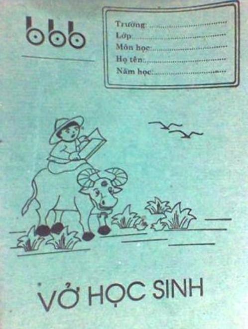 hình ảnh tuổi thơ dữ dội - vở học xanh bìa xanh