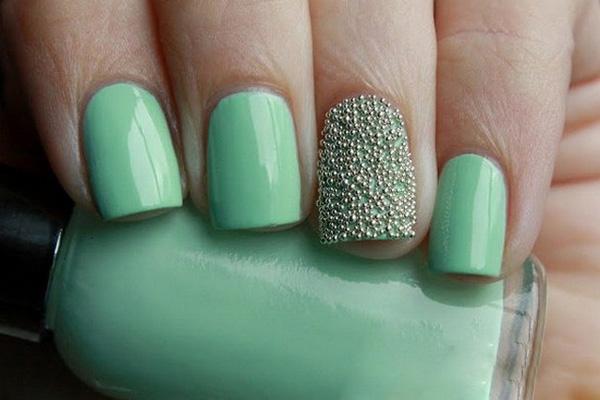 mẫu nail màu bạc hà 07