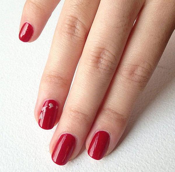 mẫu nail đẹp màu đỏ mận 04