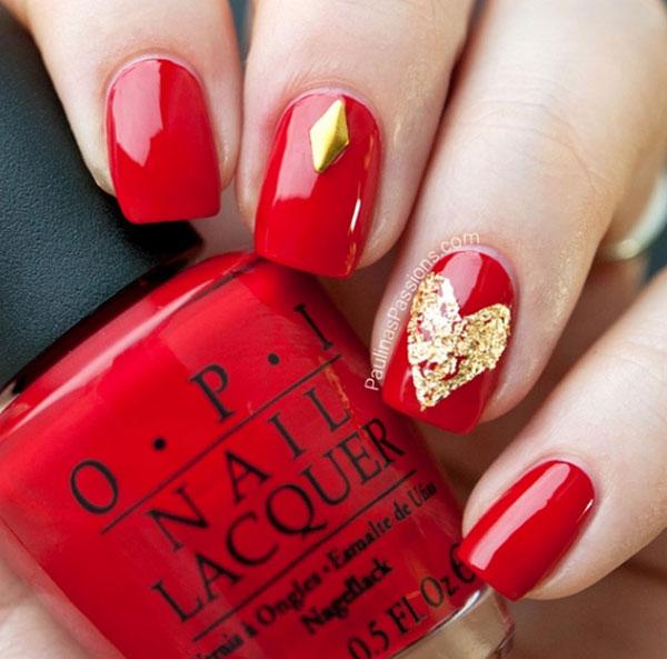 mẫu nail đẹp màu đỏ mận 05