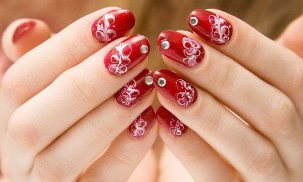 mẫu nail đẹp màu đỏ mận 06