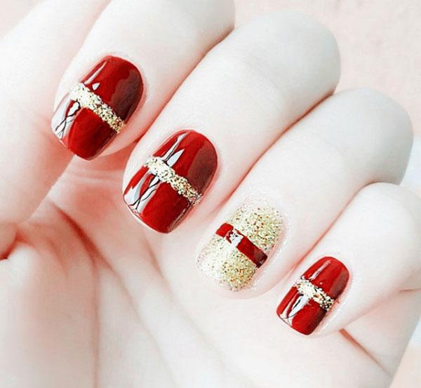 mẫu nail đẹp màu đỏ mận 07