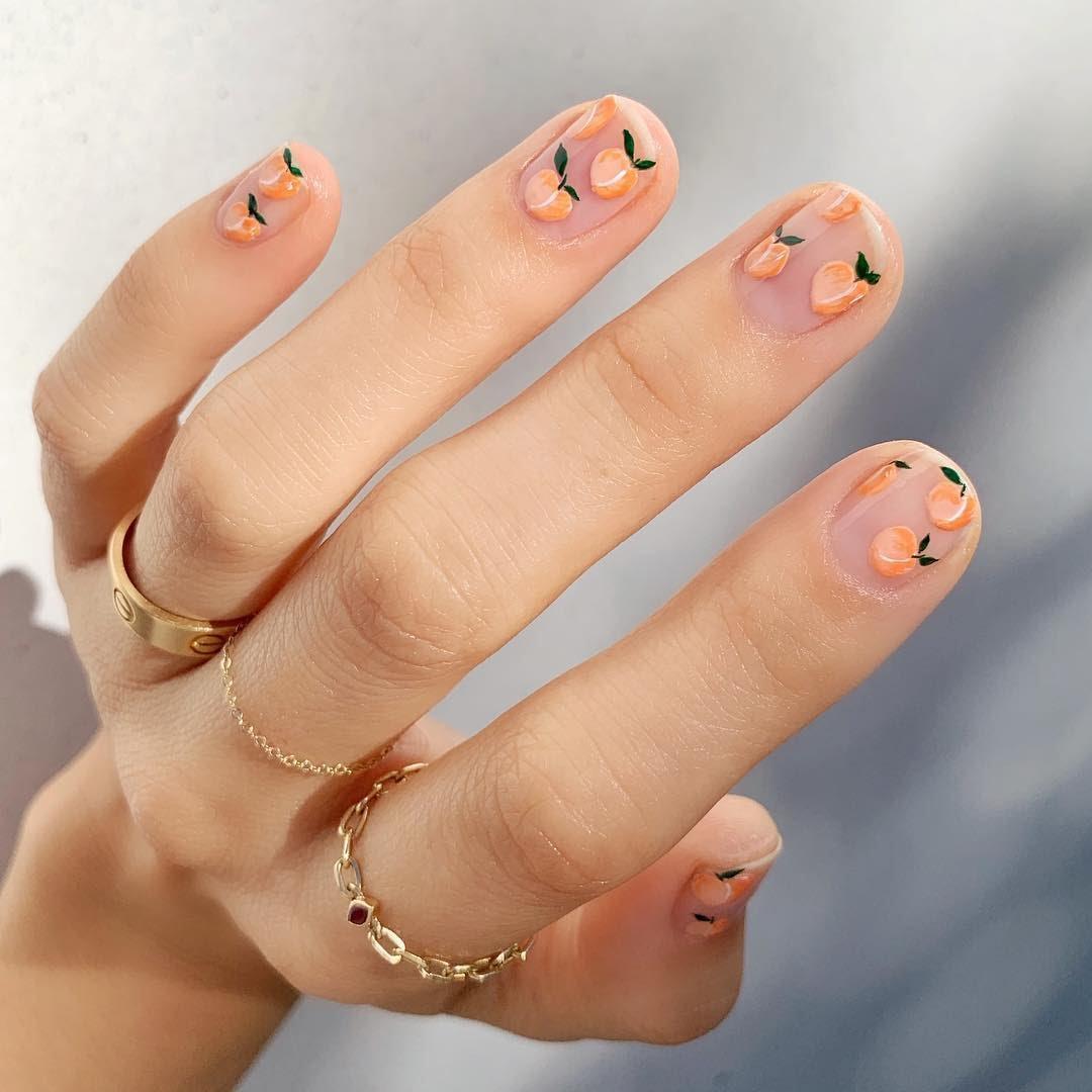 mẫu nail trái đào