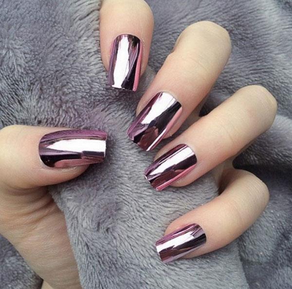mẫu nail đẹp màu Metallic tráng gương 01