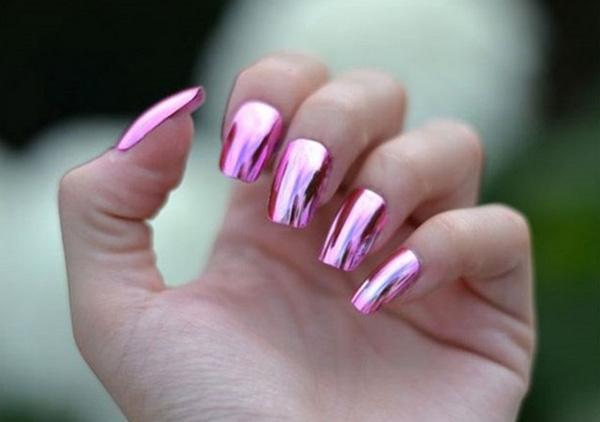 mẫu nail đẹp màu Metallic tráng gương 03