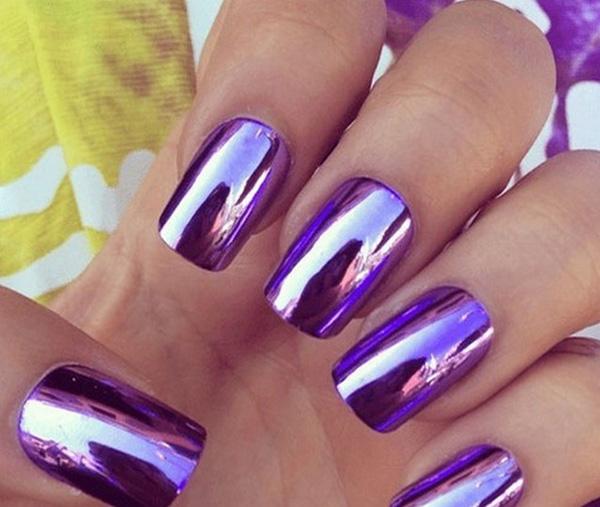 mẫu nail đẹp màu Metallic tráng gương 04