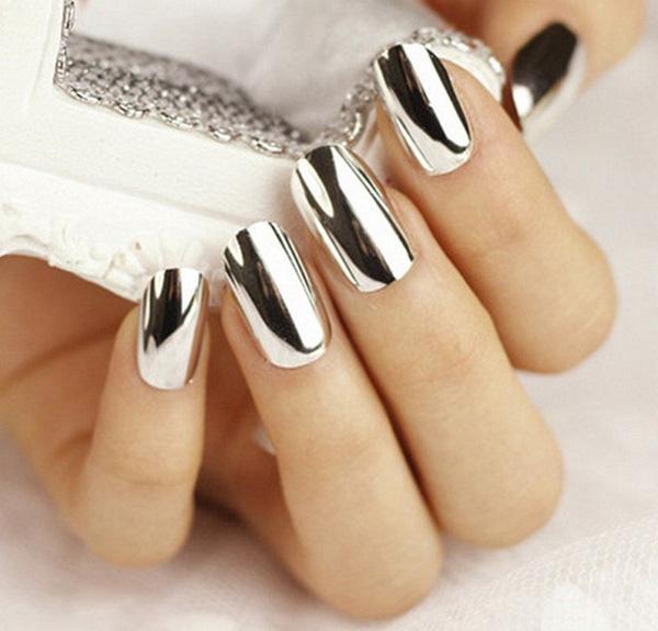 mẫu nail đẹp màu Metallic tráng gương 05