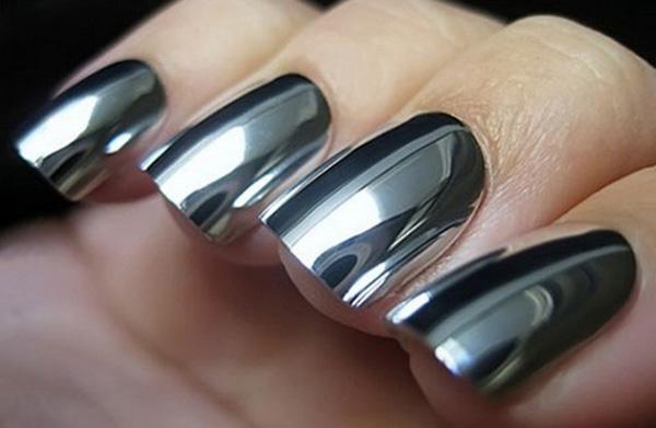 mẫu nail đẹp màu Metallic tráng gương 06