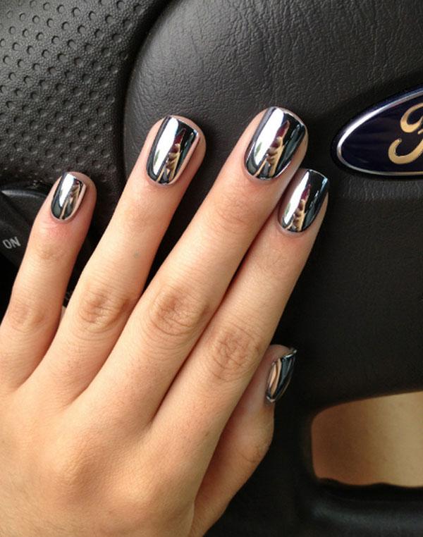 mẫu nail đẹp màu Metallic tráng gương 07