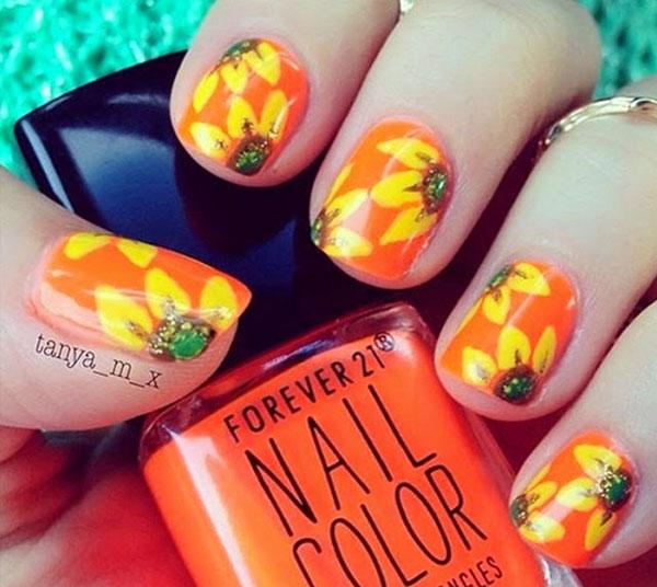 mẫu nail đẹp màu cam 01