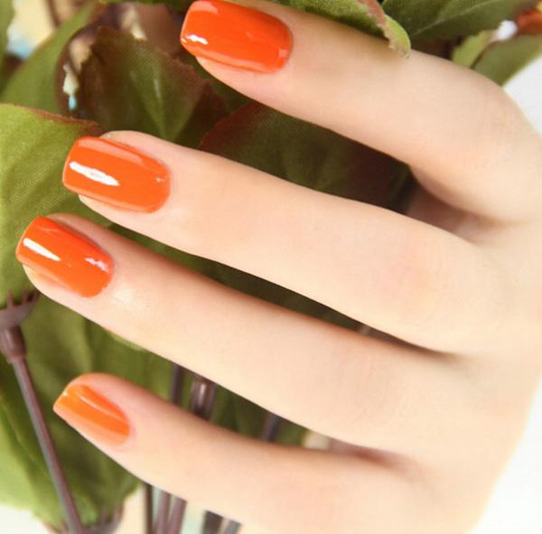 mẫu nail đẹp màu cam 02