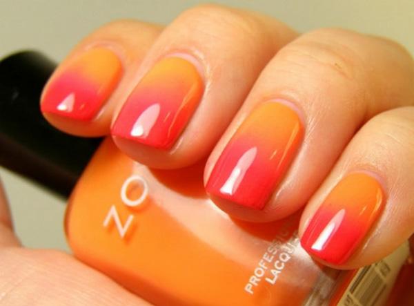 mẫu nail đẹp màu cam 05