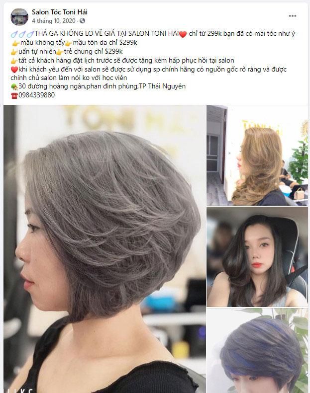 những bài quảng cáo về tóc cho chương trình giảm giá 01